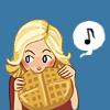 runpunkrun: chibi leslie knope eating a huge waffle she's holding with both hands (knope waffle)
