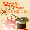 """cadenzamuse: Quote and graphics from """"Rivers of London"""": """"black magician"""" with black crossed out, replaced by """"ethically challenged"""" (politically correct magician)"""