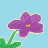 shinymarigold: purple flower with green stem and two leaves, sky blue background (flower, paint, spring)