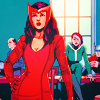 pkmntrainerrose: The Scarlet Witch standing in front of other characters, hand on hip. (mckelvie wanda)