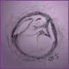 acelightning: charcoal sketch of a bunny curled up asleep, in soft purple twilight (sleeping bunny)