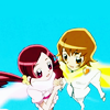 flamingstumpy: Tsubomi and Itsuki flying together while holding hands and looking into each other's eyes. (precure º they turn into blessings)