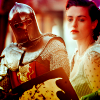 briar_pipe: Arthur in armor with Morgana watching (Arthur & Morgana)