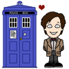 pensnest: Cartoon TARDIS, cartoon Doctor Eleven, heart (Doctor loves his Tardis)