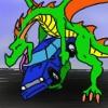 nanaya: Dragon cuddling car (happy)