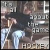 """highlander_ii: MacGyver taping up a hockey stick, text """"It's all about the game.  Hockey"""" ([MacGyver] all about the game)"""