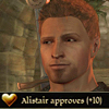 "gamerchick: Alistair from Dragon Age, looking happy.  Text: ""Alistair approves +10"" (Alistair approves)"