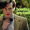 happydapy: Picture of the 11th doctor with his bowtie.  The text says Bowties are cool.  (Default)