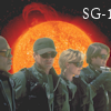 thothmes: SG-1 in front of a flaming solar disk (SG-1 Solar Style)