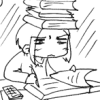 artifactrix: Line drawing of a disgruntled girl working with pencil and calculator, with a stack of textbooks on her head. (studious)