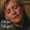 thothmes: Sam Carter with and expression of consternation and resignation.  Legend:  Oh, no!  I forgot! (no!  I forgot!)