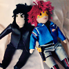turlough: fabric dolls of Gerard and Party Poison from akamine_chan's The Sharpest Lives 'verse, all by me ((mcr art) we're gonna shine tonight)