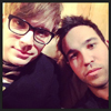 gorgeousnerd: Patrick Stump and Pete Wentz's heads leaning toward each other. (Patrick and Pete.)