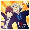 way2dawn: Gokudera hugging Tsuna, text: I <3 my boss! (GokuTsuna / let's get riled up!)
