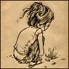 chianagirl: art of girl squatting down to look at flower (khf dandelion)