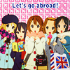 laceblade: 5 girls of K-On! anime, carrying UK bags. Text: let's go abroad! (K-On!: Abroad)