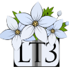 actionreaction: image of three white flowers, the letters L and T, and the number 3 ([less than three] LT3 <3)