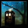 tardis_stowaway: TARDIS under a starry sky and dark tree (nine/rose b&w)