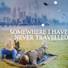 "tardis_stowaway: ten & rose on new earth, text reads ""somewhere I have never traveled"" (somewhere I have never traveled)"