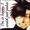 chomiji: Hakkai from Saiyuki, smiling forcefully, with the caption I'm so happy I could just puke! (Hakkai - so happy (not!))