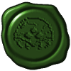 cheyinka: A blob of green wax with a Metroid stamped into it. (wax seal)