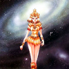 azurite: Manga illustration of Galaxia from Sailor Moon walking against a starry sky (sailormoon - galaxia)