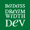 "allen: ""Badass Dreamwidth Dev"" on a green background (dwdev)"