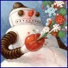 foxmonkey: Robot Snowman with Flowers (Robot Snowman with Flowers)