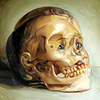 seeitbloom: painting of a baby's head blending with a bare skull (can see its beady eyes)