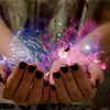 sylvaine: Cupped hands holding a colorful cloud of glowing stardust. ([gen] hold infinity in the palm of one h)