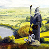 sylvaine: A painting of Gandalf standing on a hill looking out over the valley beyond with Frodo sitting next to him on a rock. ([Tolkien:LotR] Gandalf and Frodo)