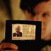 sohotrightnow: The Eleventh Doctor holding out an ID badge whose picture is of the First Doctor. ([dw] show some ID)