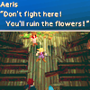 laceblade: Screenshot of FF7. Aeris: Don't fight here! you'll ruin the flowers! (FF7: You'll ruin the flowers!)