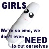 "sorcyress: Picture of a smiling tampon with the phrase ""Girls: We're so emo we don't even NEED to cut ourselves"" (Emo-period)"