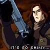 highlander_ii: cartoon Van Helsing holding a shotgun, text 'it's so shiny' ([ani-VH] so shiny)