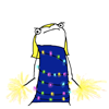 dagas_isa: MS paint woman wearing a christmas light dress and wielding sparklers. (light up dress)