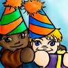 jlh: chibis of seamus and dean wearing party hats (SD birthday)