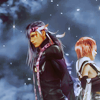 lassarina: Lightning and Caius standing back to back against a clouded sky (LightningxCaius Back to Back)