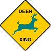 "lassarina: A ""Deer Crossing"" sign where the deer is teal-coloured. (Teal Deer)"