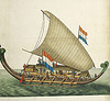nightdog_barks: Watercolor of a 17th-century Dutch outrigger, flying 2 Dutch flags (Dutch outrigger)