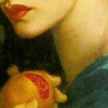 jtamsingreen: Lower quarter of a woman's face, with full red lips. She is holding a pomegranate. (Default)