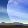 jtamsingreen: A pale blue planet with rings, rising over distant mountains and wide sagebrush fields. (Radery)