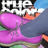 darkemeralds: Purple patent leather Doc Martens against a multi-colored carpet with the title True Colors (True Colors, Dressing Your Truth, Type 4)
