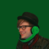 pennyplainknits: Patrick Stump wearing a hat and green headphones (great headphones)