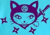 firecat: cartoon cat with throwing stars and sword (ninja kitty)