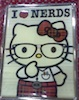 "firecat: hello kitty with glasses and trousers with text ""I HEART NERDS"" (hello kitty hearts nerds)"