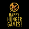 """florianschild: The mockingjay logo on a black background with the text """"Happy Hunger Games!"""" in gold (happy hunger games!)"""