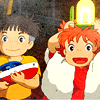 laceblade: Sasuke and Ponyo; Ponyo w/light over her head, expression gleeful (Ponyo: It's a light!)