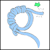 hooked_on_anime: Blue yarn in a magic ring (untightened) with six sc stitches; a green arrow points away from the loose end. (Tighten the ring)