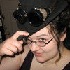 rsterbin: Me in a black hat with goggles perched on the brim (goggles hat)